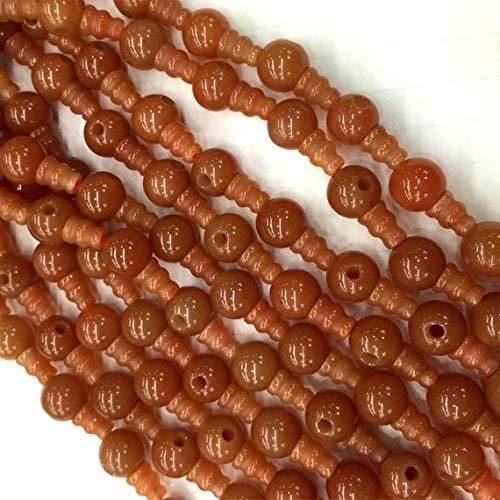 - GemAbyss Beads Gemstone 1 Strands Natural Orange Red Aventurine Jade Pagoda Tee Three Links Buddha Head Tibet Guru Barrel Big Hole Beads Size: 10mm+6x8mm (10 Sets/lot) 04220 Code-MVG-23480