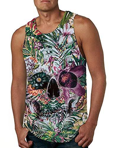 Cutemefy Teen Juniors Boys 3D Printed Floral Skull Tank Top Casual Sleeveless Graphics Tees Vest, Floral-1, Small