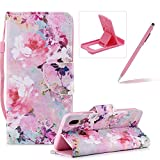 Strap Leather Case for Huawei P20 Lite,Flip Portable Carrying Case for Huawei P20 Lite,Herzzer Premium Stylish Colorful Printed Foldable Full Body Folio Pu Leather Stand Cover with Card Slots