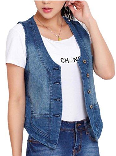 (Yayu Denim Vest Button Front Women Cotton Sleeveless Jean Waistcoat Blue XXL)