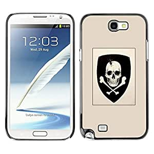 All Phone Most Case / Hard PC Metal piece Shell Slim Cover Protective Case Carcasa Funda Caso de protección para Samsung Note 2 N7100 Skull Coat Of Arms Emblem Crossbones