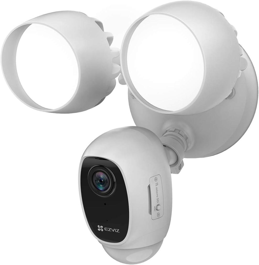 Ezviz Lc1c 1080p Fhd Flutlicht Floodlight Outdoor Überwachungskamera H 265 Mit Zwei Wege Audio Nachtsicht Bis 25 Meter Pir Bewegungserkennung Weiß Baumarkt