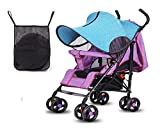Stroller Sun Shade UV Protection Cover, Blackout Blind, Baby Pram Windproof Rain Cover, Universal for Baby Carriages, Pushchair, Zip up Window & Mesh, 8070CM- A Pouch for Free,Blue