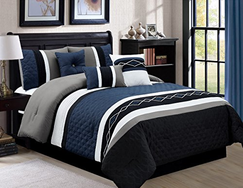 Queen Scroll (7-piece Pleated Stripe Embroidered Diamond Scroll Comforter Set (Queen, Blue))