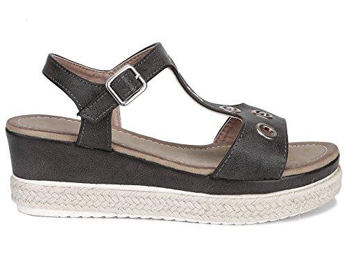 Max Muxun Women Shoes Open Toe Ankle Strap Buckle Raffia Wedge Heel Summer Sandals Grey FNL2XGPr