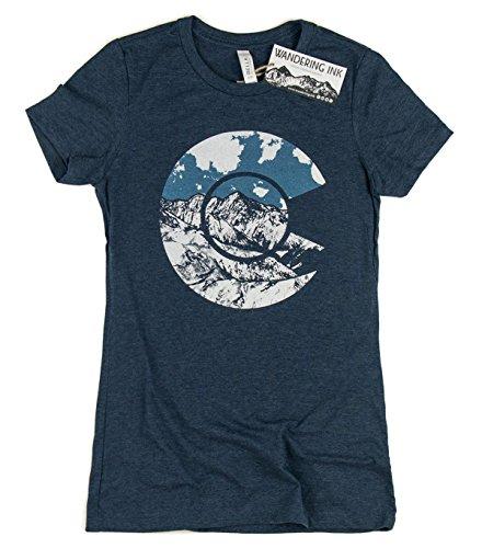 Womens Colorado Flag Art Wandering Ink Super Soft Hand Printed Tee Shirt  Xx Large  Heather Navy