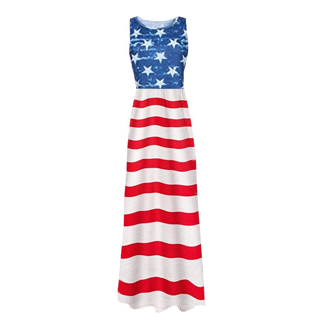 a94028af Amazon.com - Ganenn 4th of July Women's American Flag Maxi Dress - O ...