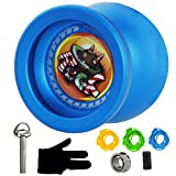 MAGICYOYO Responsive Yoyo T9 Rock for Beginners with Replacement Unresponsive Yoyo Bearing for Advanced Players, Bonus Bearing Tool and 3 Strings, Bonus Glove - Blue