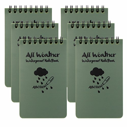 """M-Aimee Pack of 6 All Weather Notebook waterproof writing paper all weather 3"""" x 5"""""""