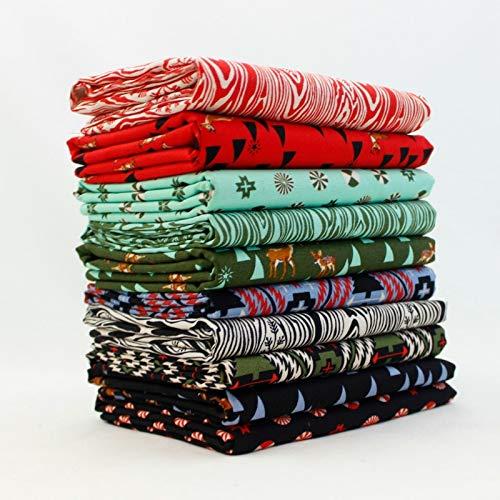 Free Spirit Holiday Homies Fat Quarter Bundle (10 pcs) - Tula Pink 18 x 21 inches (45.72cm x 53.34cm) Fabric cuts DIY Quilt Fabric (Holidays Quilt Fabric Cotton)