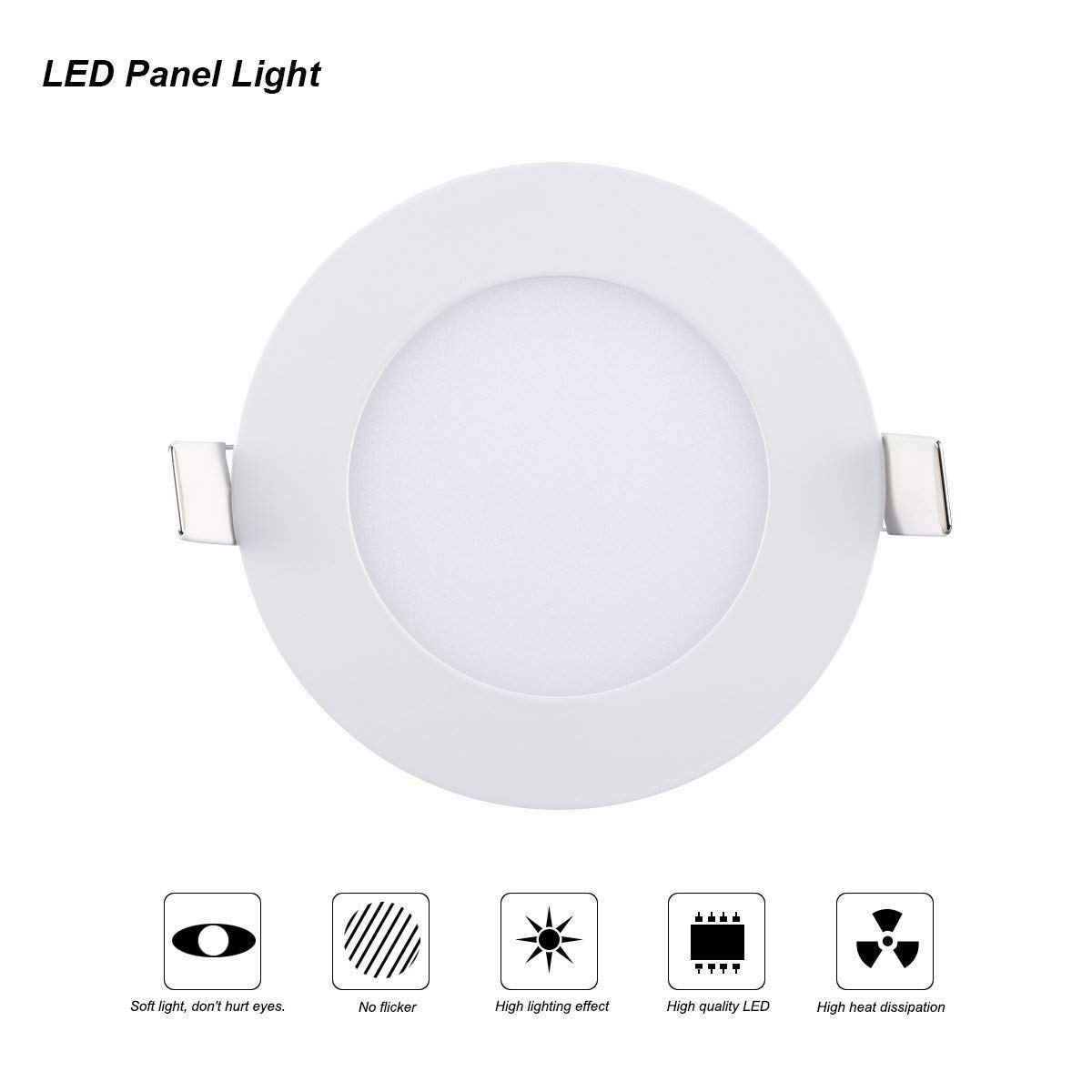 Ceiling Lights, TryLight 12 Watts 6 Inch Dimmable Round LED Recessed Lighting Ultra-Thin for Home Office Commercial Lighting, 4000K Cool White by TryLight (Image #4)