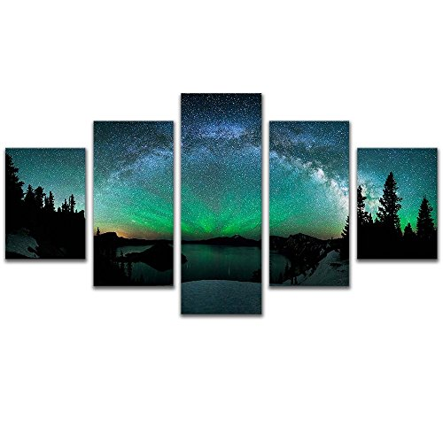5 Panel Northern Light Star Night Landscape Canvas Art Print Painting Living Room Decor Framed,Small Size 100cmX55cm,Ready to hang