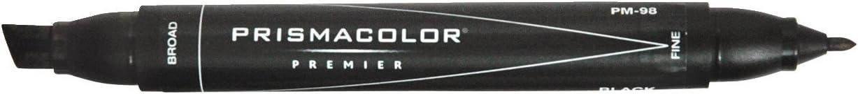 Prismacolor Double-Ended Marker, Broad and Fine Tip, PM98 Black (3510)