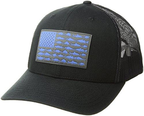 Columbia PFG Mesh Snap Back Ball Cap, Black/Vivid Blue Fish Flag, One Size
