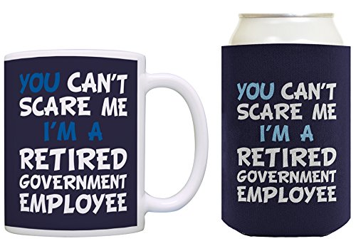 Retirement Gifts for Women You Can't Scare Me I'm a Retired Government Employee Retirement Gifts for Teachers Teacher Retirement Gifts Coffee Mug & Can Coolie Bundle Navy