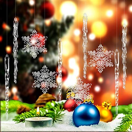 SallyFashion Weihnachtsbaum Anhänger, 30 Stück Acryl Schneeflocken und Eiszapfen Christbaumschmuck mit Transparent Seil für Weihnachtsbaum Party Dekorationen