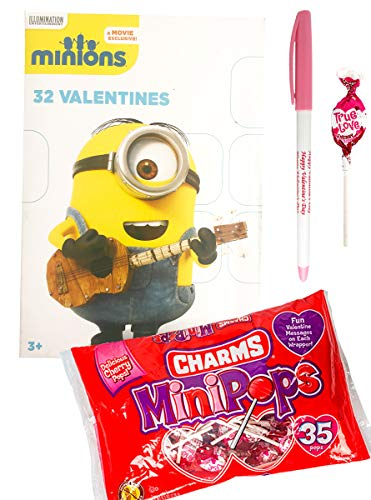 Minions 32 Valentines Cards with Charms Lollipops Minipops