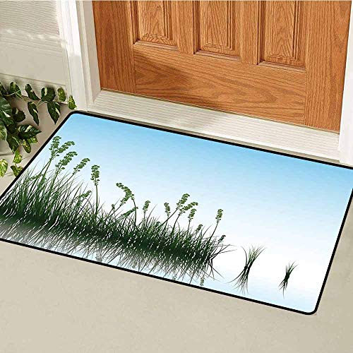 Gloria Johnson Landscape Welcome Door mat Scenery of a Lake Bushes Grass with Reflection Floral Art Image Print Door mat is odorless and Durable W31.5 x L47.2 Inch Pale Blue Jade Green_1