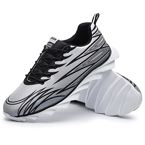 Unisex Running Outdoor Lace Breathable Sport Up Shoes absorption Padgene Black for Sneaker Shoes Mesh Lightweight Shock 4awqI