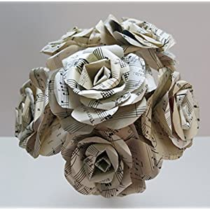 "Large Sheet Music Roses, 4"" Sculpted Paper Flowers on Stems, Set of 6, Wedding Decorations, Bridal Shower Centerpiece, Party Decor 72"
