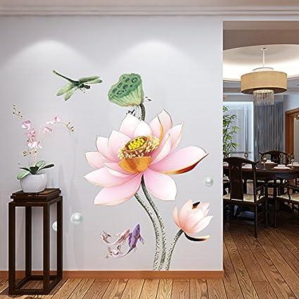 GOUZI Fiori di loto decorare la parete den sticker delle camere da ...