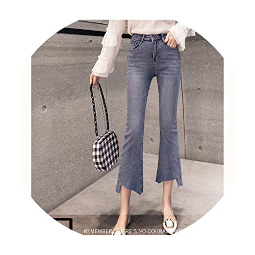 2f8ef877c0 Monica's house Jeans Female Denim Flare Pants Womens Jeans Donna Stretch  Bottoms Skinny Pants for Women Trousers 192,Blue,M