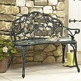 BCP Outdoor Patio Garden Bench Park Yard Furniture Cast Iron Antique Rose Design