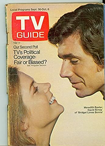 1972 TV Guide Sep 30 Bridget Loves Bernie - Cleveland Edition NO MAILING LABEL Good to Very Good (2 1/2 out of 10) Well Used by Mickeys (Bridget Loves Bernie)