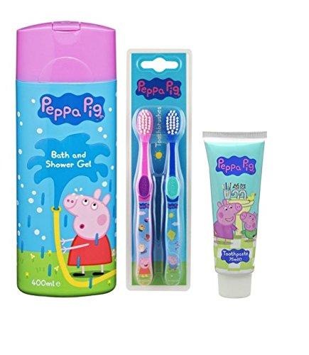 PANISH Peppa Pig Gel de Baño y Ducha, Cepillo de Dientes (x 2) y Pasta de Dientes: Amazon.es: Belleza