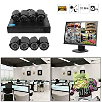 Security Indoor Outdoor Wide Viewing Angle Night Vision Cameras System Home DVR 1TB,8-Channel 1080P HD Video Security System CCTV DVR Hard Drive Surveillance Night Vision Security Camera System