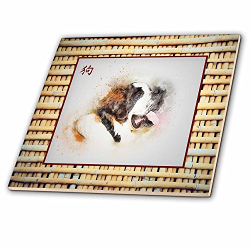 3dRose Beverly Turner Chinese New Year Design - Saint Bernard on Realistic Bamboo Look,Sign of the Dog in Chinese - 8 Inch Glass Tile (ct_274438_7) -