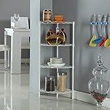 Corner Storage Rack 4 Tier Rack Shelf Wire Shelving Garage Kitchen Bathroom Home