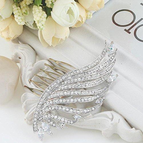 Ever Faith -Aile d'Ange Peigne Mariage Transparent Zircon Cristal Plaqué Argent N04284-1