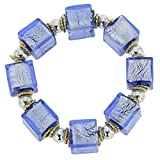 GlassOfVenice Brillio Venetian Cubes Bracelet - Azure Blue