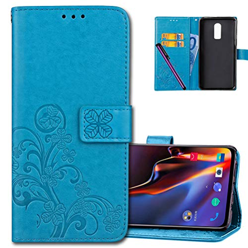 (OnePlus 6T Wallet Case Leather COTDINFORCA Premium PU Embossed Design Magnetic Closure Protective Cover with Card Slots for OnePlus 6T / 1+6T (2018). Luck Clover Blue)