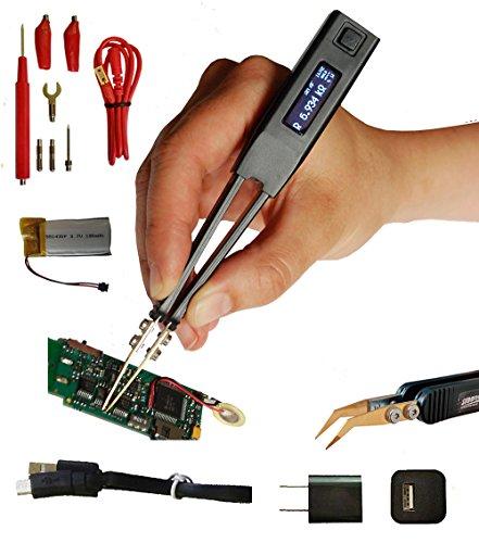 Smart Tweezers LCR-Reader Pro: Digital Multimeter LCR-meter Inductance Meter with Kelvin Probe Connector, Charger and Ergonomic Bent Probes (Smart Tweezer)