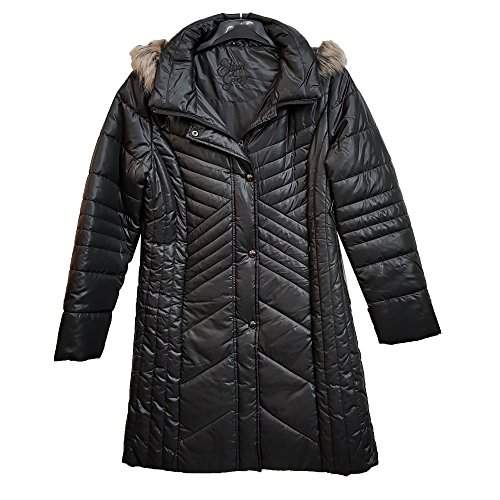 (Eliza Gray) Sell by Suit and Suit New Women Designer Line Padded Winter Ladies Long Fur Hooded Puffer Coat Jacket Black