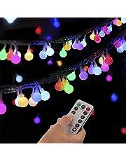 Lichtketting met bollen, 100 leds, globe lichtketting met stekker voor binnen en buiten, 8 modi met afstandsbediening voor slaapkamerdecoratie binnen, bruiloft, tuin, kerstdecoratie