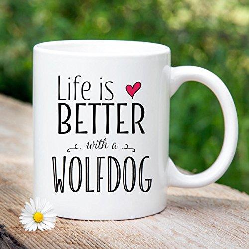 Dog mug, Wolfdog mug, gift for dog, dog lover, ceramic mug, handprinted, husky, malamute, Czech wolfdog, wolf dog, wolverine, gift for mom