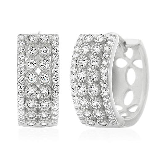 .925 Sterling Silver Womens Fancy Cubic Zirconia Two-Row CZ Micro Pave Small Round Huggie Hoop Earrings (White) ()