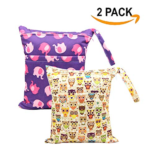 JooNeng 2pcs Wet Dry Cloth Diaper Bag Portable Baby Double Pocket Nappy Bag Organizer Animal Pattern Travel Bag,Eleplants Owls