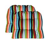 Sunbrella Carousel Confetti Large 2 Piece Wicker Chair Cushion Set - Indoor / Outdoor 2 Matching Wicker Chair Cushions - Navy, Turquoise, Lime Green, Orange, Red, & White Stripe