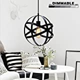 Industrial Spherical Pendant Light, KINGSO UL Listed Globe Hanging Light Antique Sphere Chandelier Light Black Ceiling Light Fixture For Kitchen Hallway Dining Room Bedroom