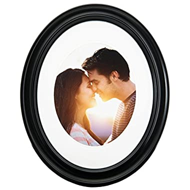 Gallery Solutions Oval Wall Frame, 11 by 14-Inch Matted Opening to Display 8 by 10-Inch Photo, Black