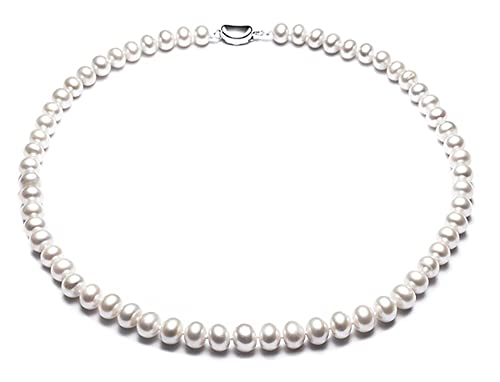 JYX Natural White Freshwater Cultured Pearl Necklace 18-Inches