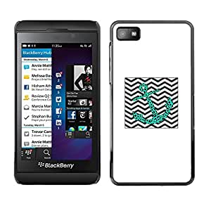 For Blackberry Z10 , S-type® Leopard Teal Chevron Waves Sea - Arte & diseño plástico duro Fundas Cover Cubre Hard Case Cover