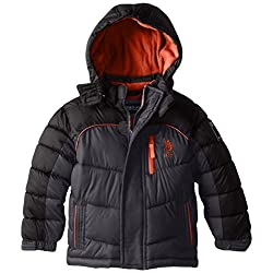U.S. Polo Association Little Boys' Two-Toned Bubble Jacket with Hood