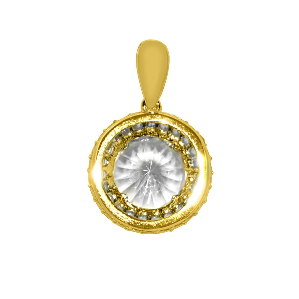 Precious Stars Jewelry 14k Yellow Gold 9-mm Round-Cut Cubic Zirconia Crown Halo Pendant