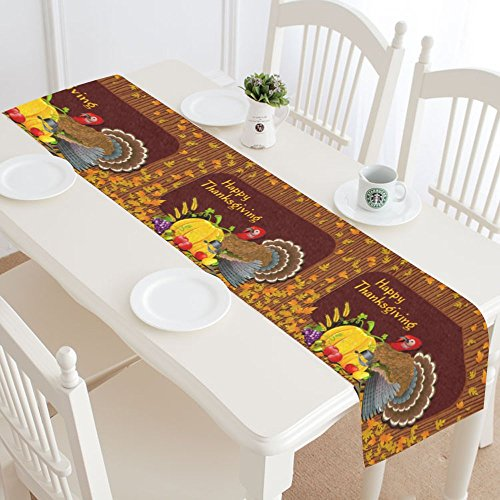 InterestPrint Vintage Thanksgiving Turkey with Pumpkin Polyester Table Runner Placemat 16 x 72 inch, Autumn Maple Leaf Tablecloth for Office Kitchen Dining Wedding Party Home (Thanksgiving Placemat)