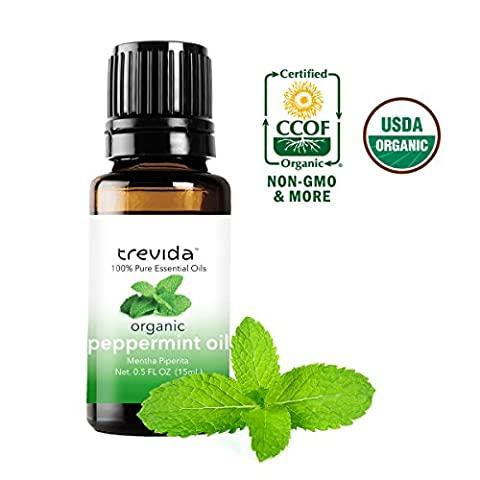 Trevida Certified Organic Peppermint Essential Oil | 15 ml | Repel Mice & Bugs, Aromatherapy, Headache Relief, Dandruff, And (Here Is How To Do Therapy)